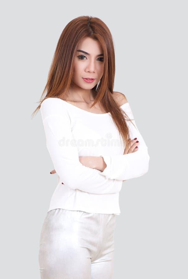 Vrouwen wit overhemd royalty-vrije stock afbeeldingen