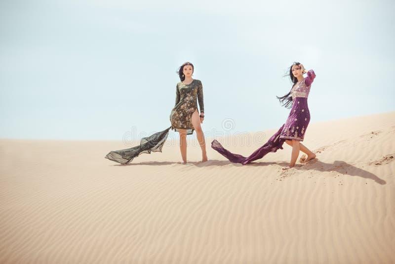 Vrouwen in woestijnlandschap reis concept stock afbeelding