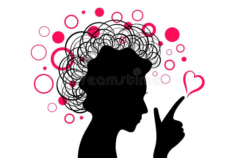 Vrouwen zwart hoofdsilhouet met hand en roze hart met cirkels stock afbeeldingen