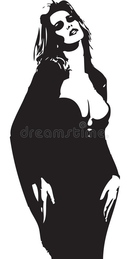 Vrouwen in zwarte kleur royalty-vrije stock foto