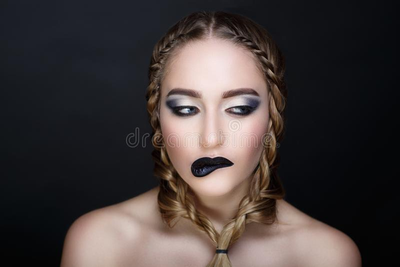 Vrouwen zwarte lippen royalty-vrije stock foto's