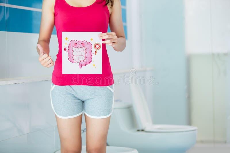 Vrouwenaanplakbord over constipatie stock foto