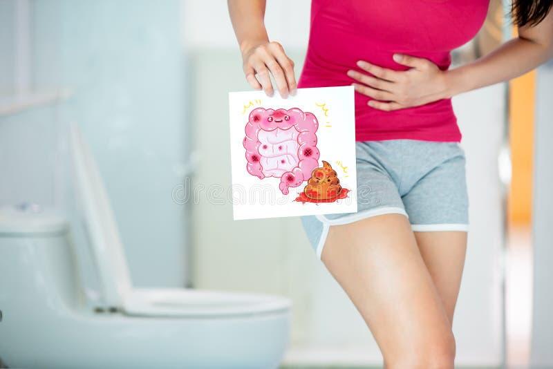 Vrouwenaanplakbord over darm royalty-vrije stock foto
