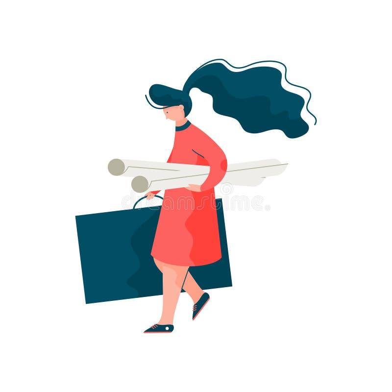 Vrouwenarchitect met Projectdocument Broodjes en Portefeuillegeval, Vrouwelijke Professionele Ingenieur Character Vector Illustra royalty-vrije illustratie