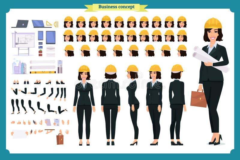Vrouwenarchitect in pak en beschermende helm stock illustratie