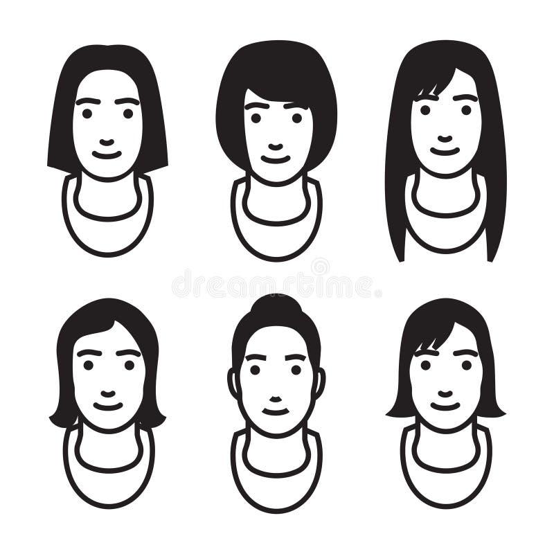 Vrouwenavatar vector geplaatste pictogrammen stock illustratie