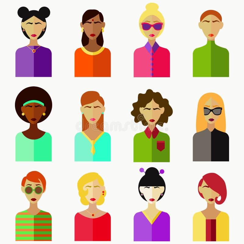 Vrouwenavatar vlakke kleurrijke inzameling stock illustratie