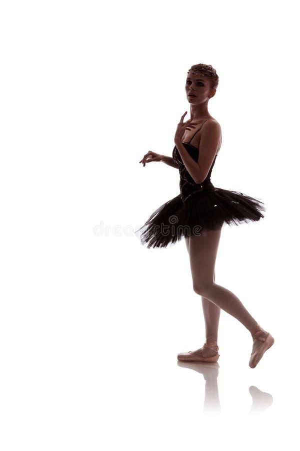 Vrouwenballerina in zwart tutupak royalty-vrije stock afbeeldingen