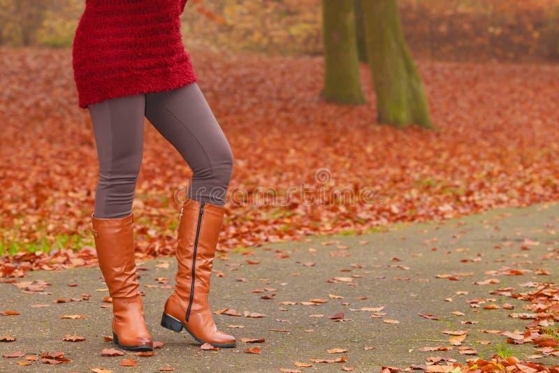 Vrouwenbenen in bruine laarzen Dalingsmanier stock afbeeldingen