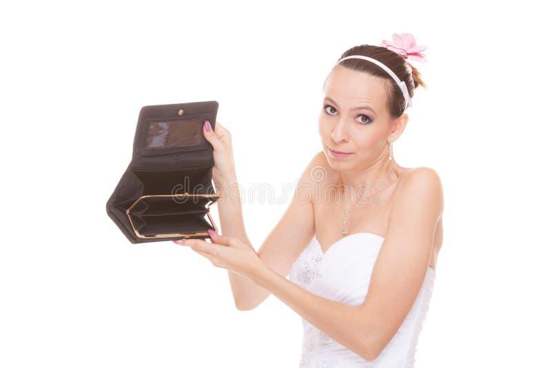 Vrouwenbruid met lege portefeuille Huwelijksuitgaven royalty-vrije stock fotografie