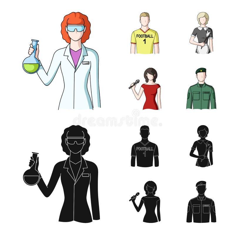 Vrouwenchemicus, voetbalster, hotelmeisje, zanger, presentator Pictogrammen van de beroeps de vastgestelde inzameling in beeldver stock illustratie