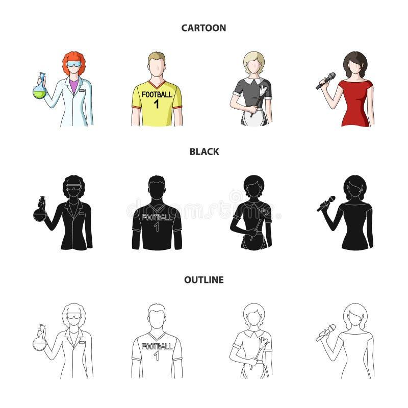 Vrouwenchemicus, voetbalster, hotelmeisje, zanger, presentator Pictogrammen van de beroeps de vastgestelde inzameling in beeldver royalty-vrije illustratie
