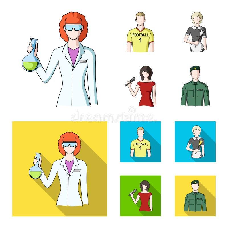 Vrouwenchemicus, voetbalster, hotelmeisje, zanger, presentator Pictogrammen van de beroeps de vastgestelde inzameling in beeldver vector illustratie