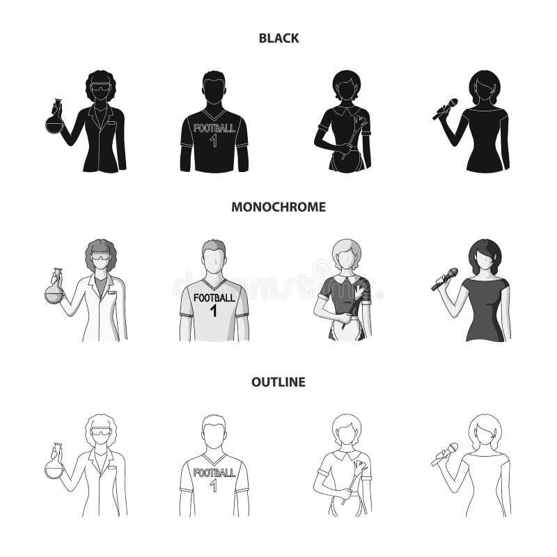 Vrouwenchemicus, voetbalster, hotelmeisje, zanger, presentator Pictogrammen van de beroeps de vastgestelde inzameling in zwart, z royalty-vrije illustratie
