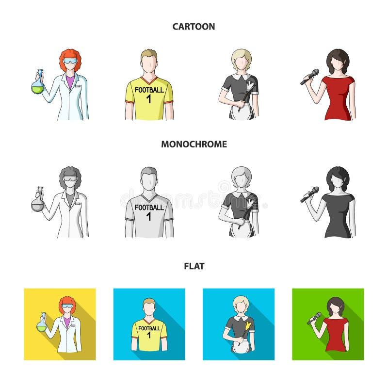 Vrouwenchemicus, voetbalster, hotelmeisje, zanger, presentator Pictogrammen van de beroeps de vastgestelde inzameling in zwart-wi stock illustratie