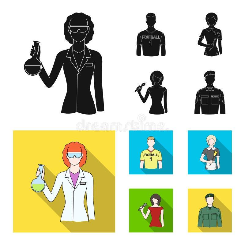 Vrouwenchemicus, voetbalster, hotelmeisje, zanger, presentator Pictogrammen van de beroeps de vastgestelde inzameling in zwarte,  vector illustratie