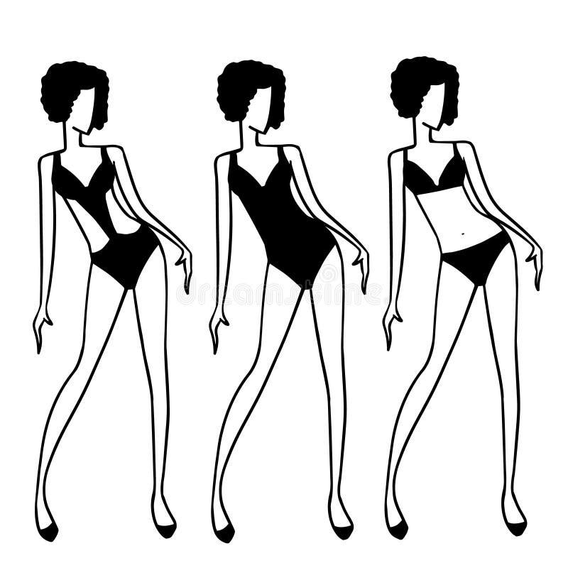 Vrouwencijfers in verschillend ontwerpenzwempak Eenvoudige zwart-witte tekeningen van vrouwenmanier vector illustratie