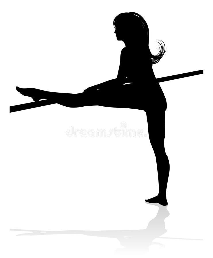 Vrouwendanser Stretching Silhouette stock illustratie