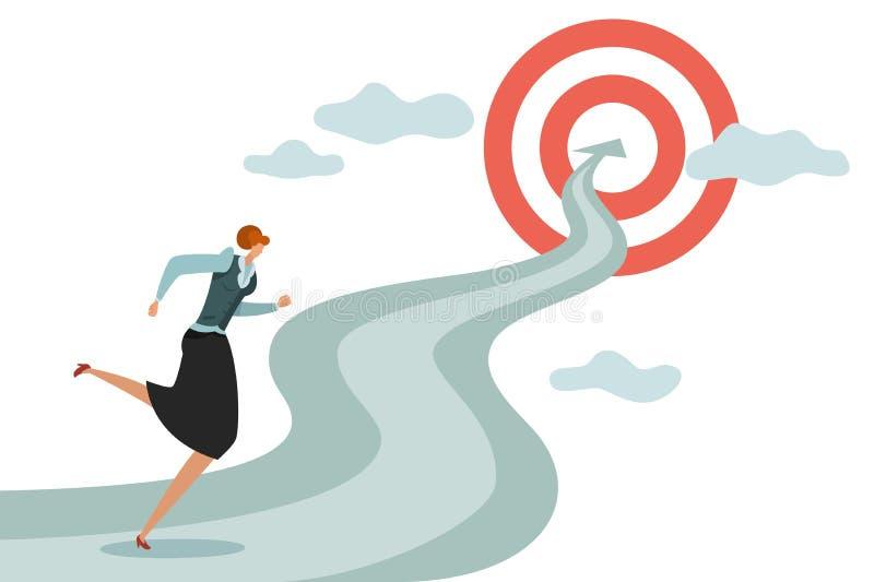 Vrouwendoel Bedrijfs jong wijfje die aan succesvolle carri?re en nieuwe doelstellingen, het winnen springende moeilijkhedenvector vector illustratie