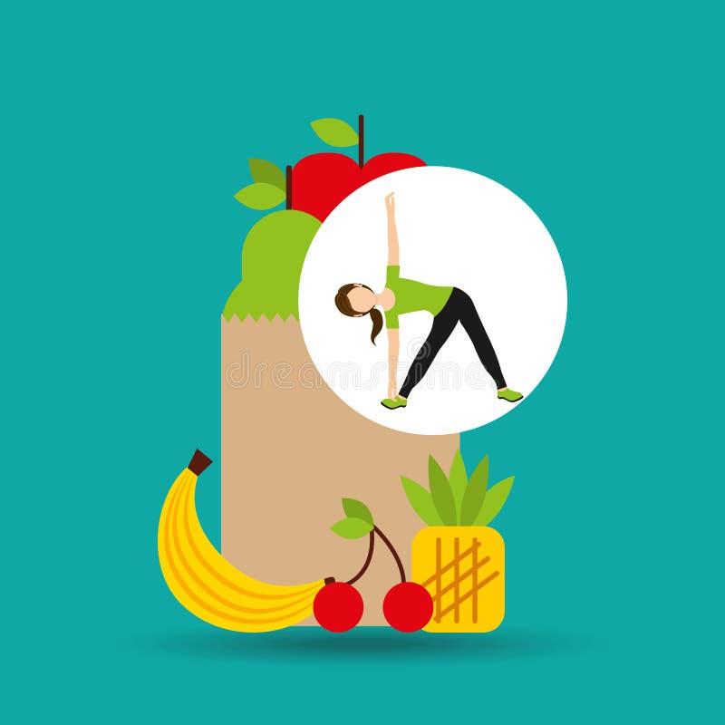 Vrouwenflexibiliteit die gezonde voedselzak uitoefenen stock illustratie