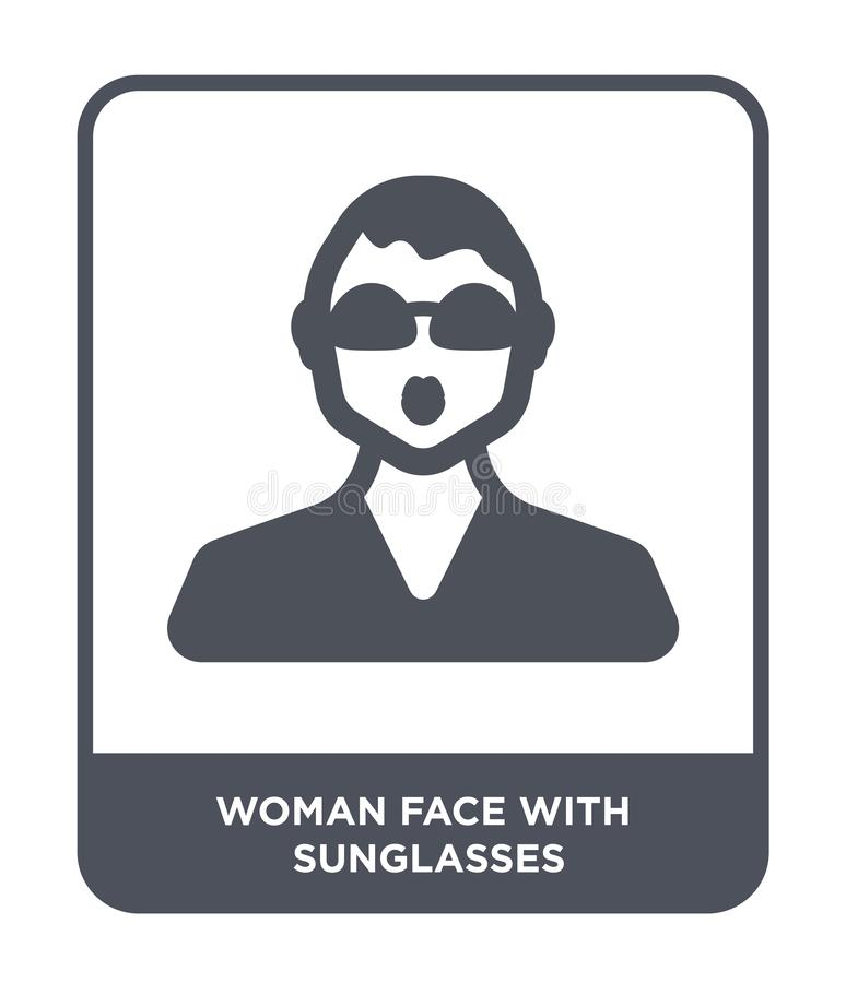 vrouwengezicht met zonnebrilpictogram in in ontwerpstijl vrouwengezicht met zonnebrilpictogram op witte achtergrond wordt geïsole stock illustratie