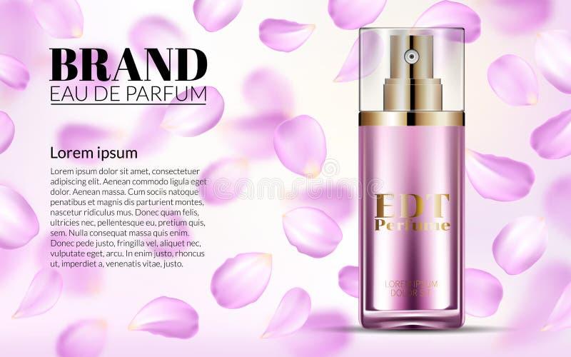 Vrouwenglamour Roze Rose Water Spray Bottle Parfum omhoog in Glasspot met de Dalende Achtergrond van bloemblaadjesbloemen vector illustratie