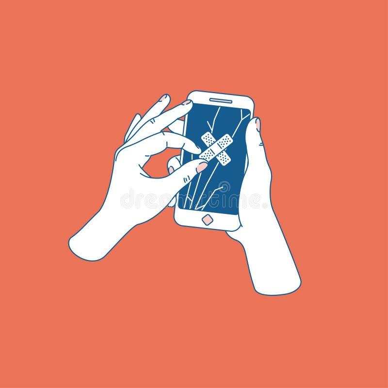 Vrouwenhand die gebarsten smartphone proberen te herstellen Telefoon met het gebroken scherm De dienst van de telefoonreparatie V vector illustratie