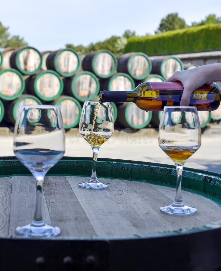 Vrouwenhand die gouden wijn van de fles gieten in glazen royalty-vrije stock afbeelding