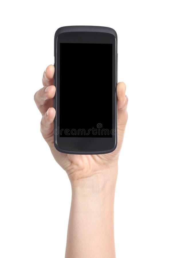 Vrouwenhand die het zwart mobiel telefoonscherm tonen stock fotografie