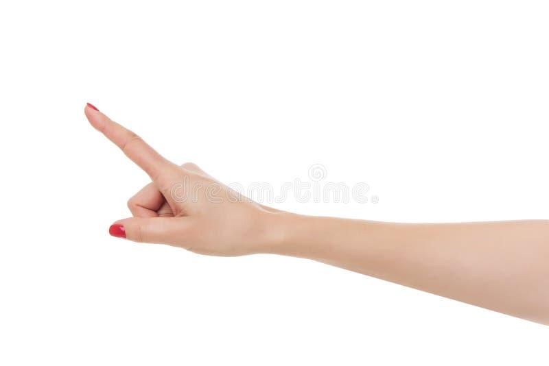 Vrouwenhand die met wijsvinger benadrukken royalty-vrije stock foto's