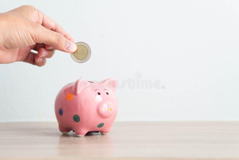 Vrouwenhand die muntstuk zetten aan roze spaarvarken met exemplaarruimte voor tekst stock foto