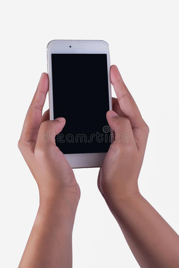 Vrouwenhand en slimme telefoon stock foto