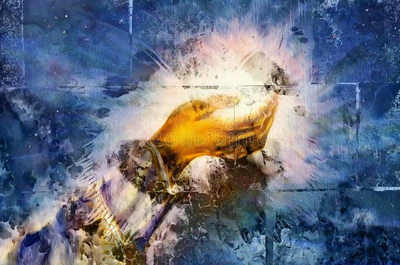 Vrouwenhand met licht en vlinder op geknapperde geweven muur, grafisch ontwerp stock foto