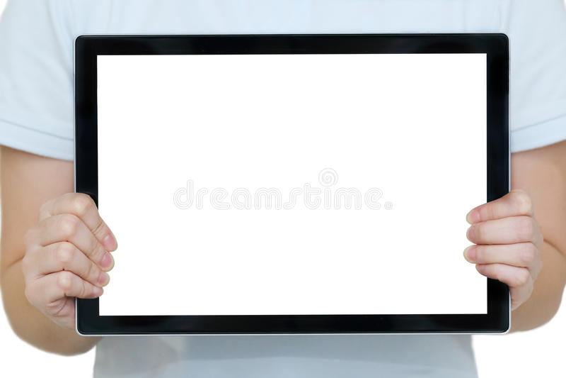 Vrouwenhanden die een tablet met lege exemplaarruimte houden royalty-vrije stock foto