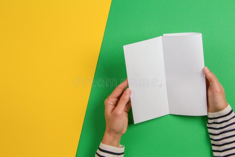 Vrouwenhanden die het lege witte boekje van de vliegerbrochure houden Het malplaatje van het modelblad reclameboekje op groen en  stock afbeelding