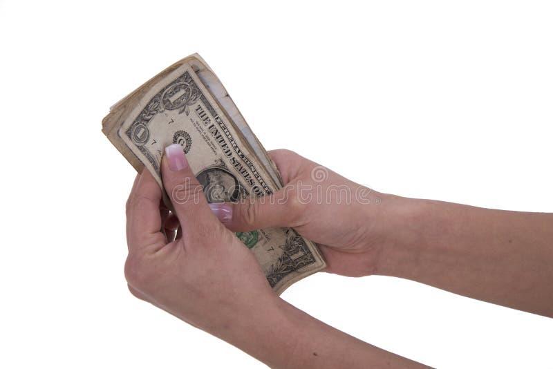 Vrouwenhanden met dollar royalty-vrije stock afbeeldingen