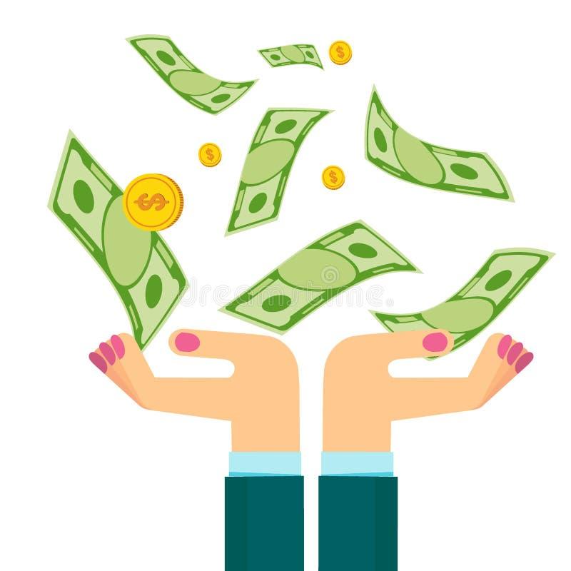 Vrouwenhanden met dollars stock illustratie