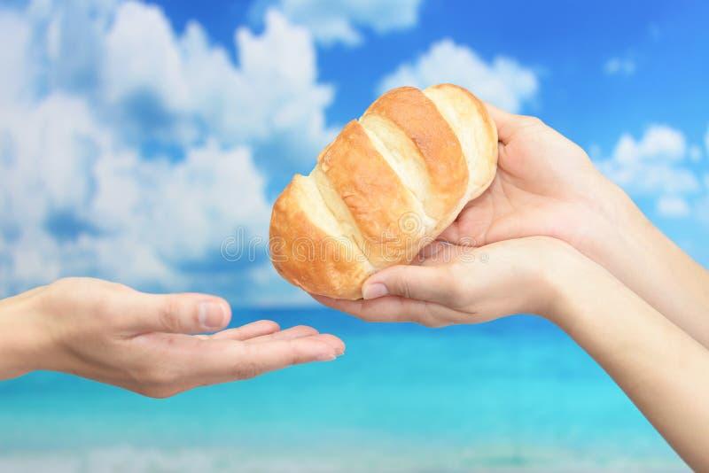 Vrouwenhanden met een brood royalty-vrije stock afbeeldingen
