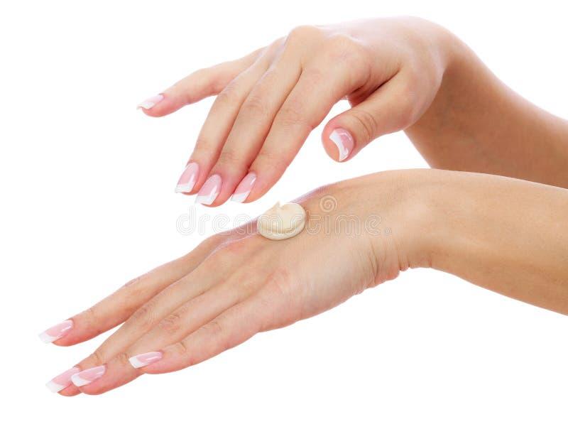 Vrouwenhanden met perfecte manicure royalty-vrije stock foto