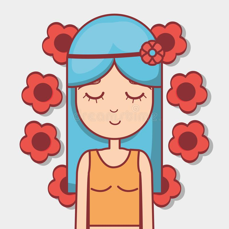 Vrouwenhippie het ontspannen met bloemen stock illustratie