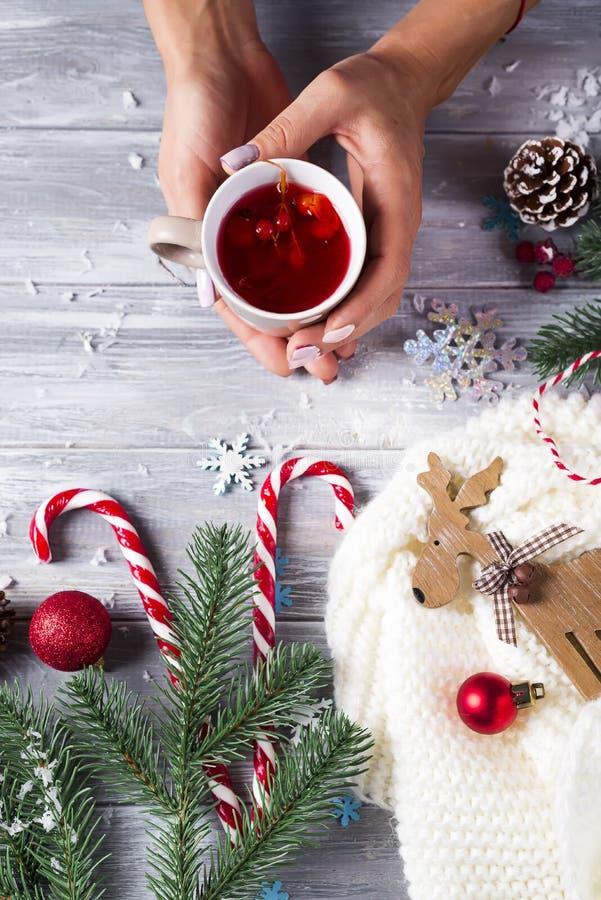 Vrouwenholding in thee van handen de hete Kerstmis met suikergoed royalty-vrije stock afbeelding