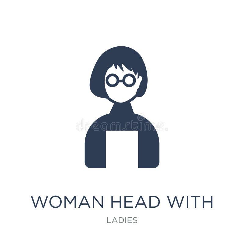 Vrouwenhoofd met Glazenpictogram In vlak vectorvrouwenhoofd met stock illustratie