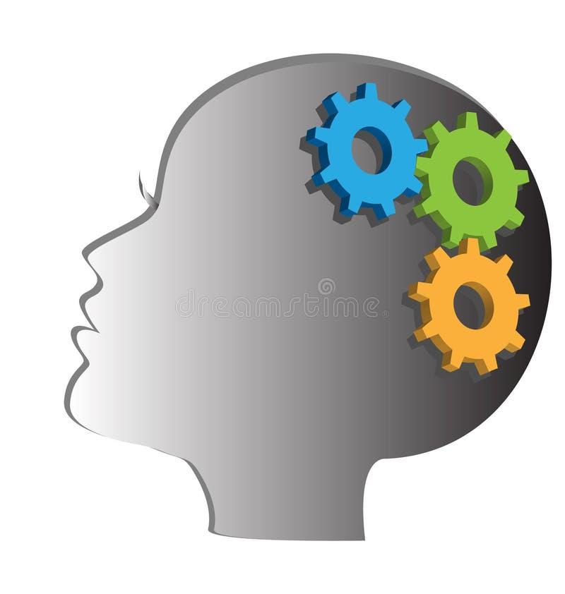 Vrouwenhoofd met toestellen en radertjes Het denken proces, ideegeneratie, hersenen het functioneren vector illustratie