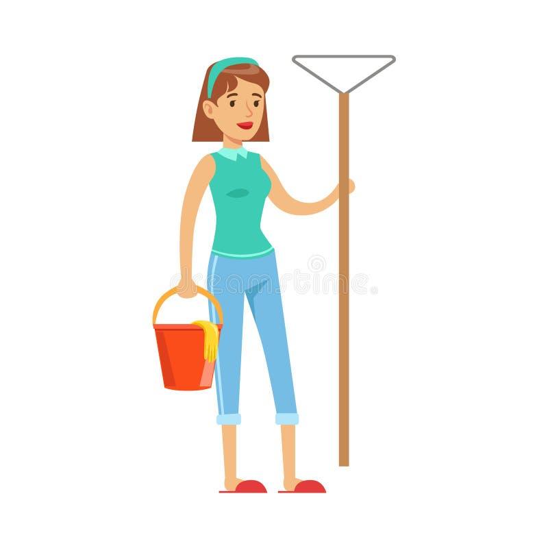 Vrouwenhuisvrouw With Bucket VAN Water en Bezem Klaar schoon te maken, Klassieke Huishoudenplicht van blijven-bij-Huisvrouw royalty-vrije illustratie