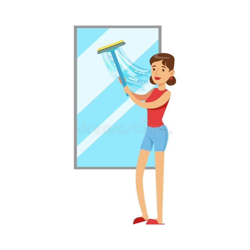 Vrouwenhuisvrouw Cleaning The Window met Rubberschuiver, Klassieke Huishoudenplicht van de Illustratie van de blijven-bij-Huisvro vector illustratie
