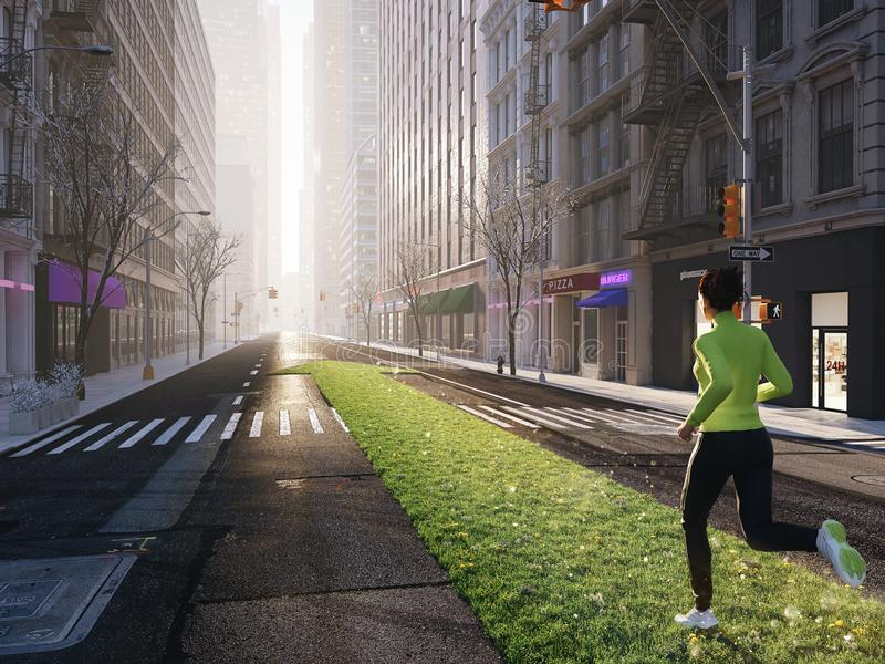 Vrouwenjogging alleen in de straten van stad op een groene gazonpijl het 3d teruggeven royalty-vrije illustratie