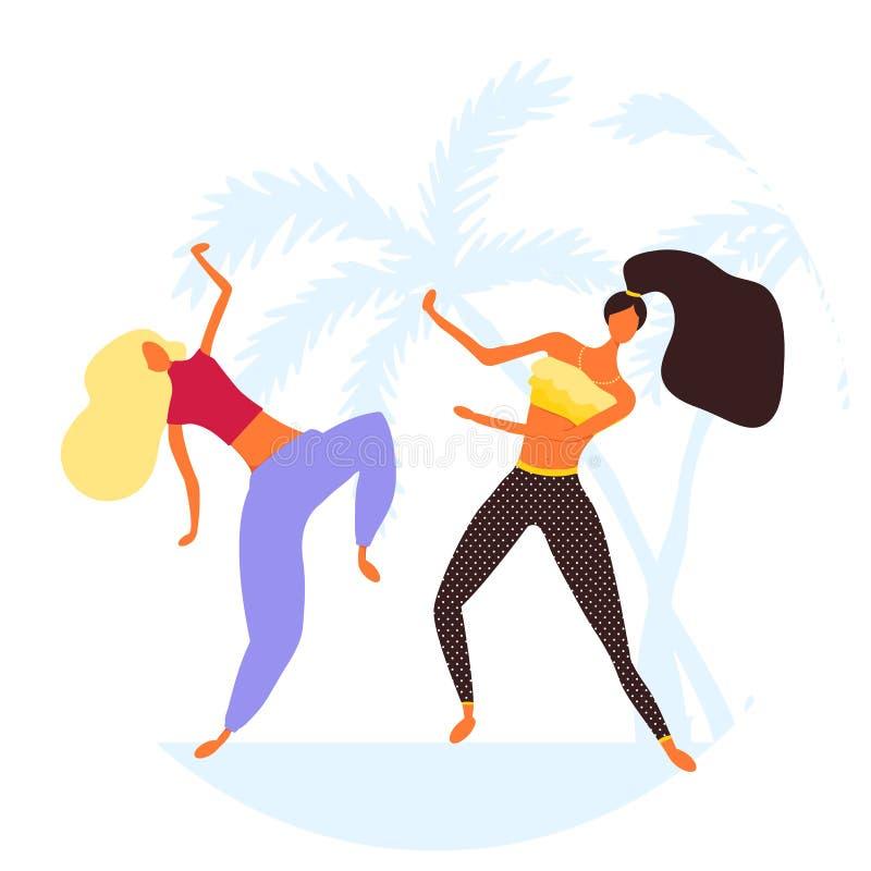 Vrouwenkarakter die in een moderne vlakke stijl dansen stock illustratie