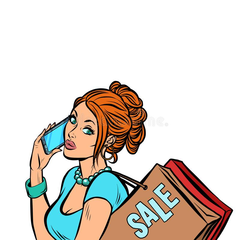 Vrouwenkoper die op de telefoon spreken stock illustratie