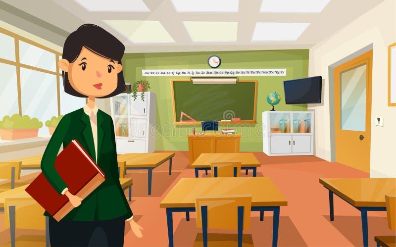 Vrouwenleraar bij universiteit of schoolklaslokaal royalty-vrije illustratie