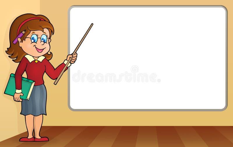 Vrouwenleraar die zich door whiteboard bevinden vector illustratie